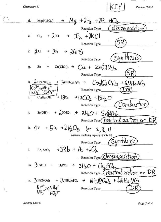 Unit V Chem Rxns Ms Beaucage – Chemistry Unit 5 Worksheet 2 Answer Key
