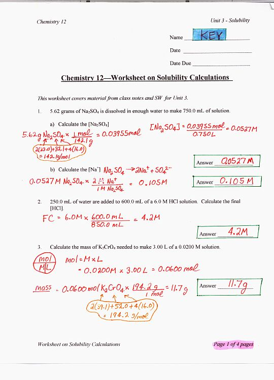 Solubility Ms Beaucage – Solution Stoichiometry Worksheet