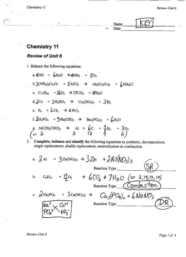 Unit V Chem Rxns Ms Beaucage – Biochemistry Worksheet Answers